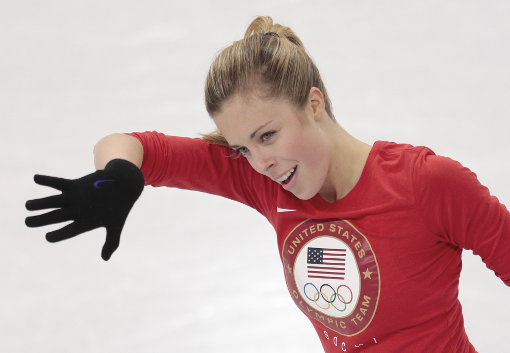 Ashley Wagner of the United States skates at the figure stating practice rink Wednesday ahead of the 2014 Winter Olympics in Sochi, Russia. In the United States, Wagner spoke eloquently against the Russian law. In Sochi, she still is answering questions on it but isn't making it a priority.
