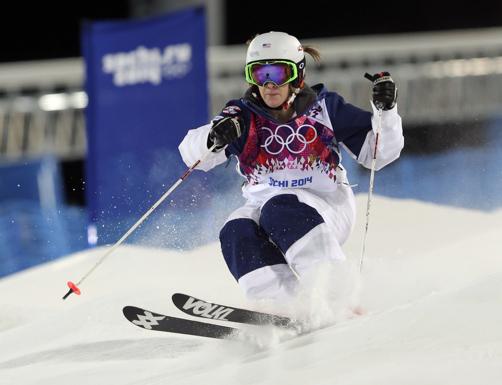 United States' Hannah Kearney competes in the women's moguls final 1 at the Rosa Khutor Extreme Park, at the 2014 Winter Olympics on Saturday in Krasnaya Polyana.