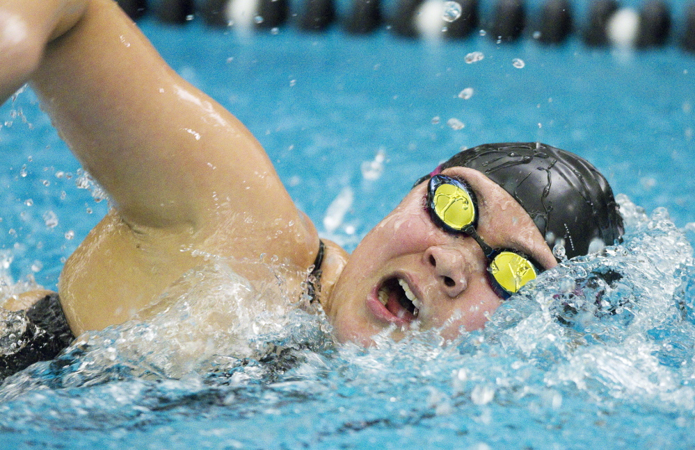 Greely's Hwanhee Park heads toward a victory in the 500 freestyle, to go along with her win in the 200 freestyle. Park was the only swimmer to win two individual events.