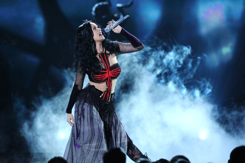 "Katy Perry performs ""Dark Horse"" at last month's Grammy Awards."
