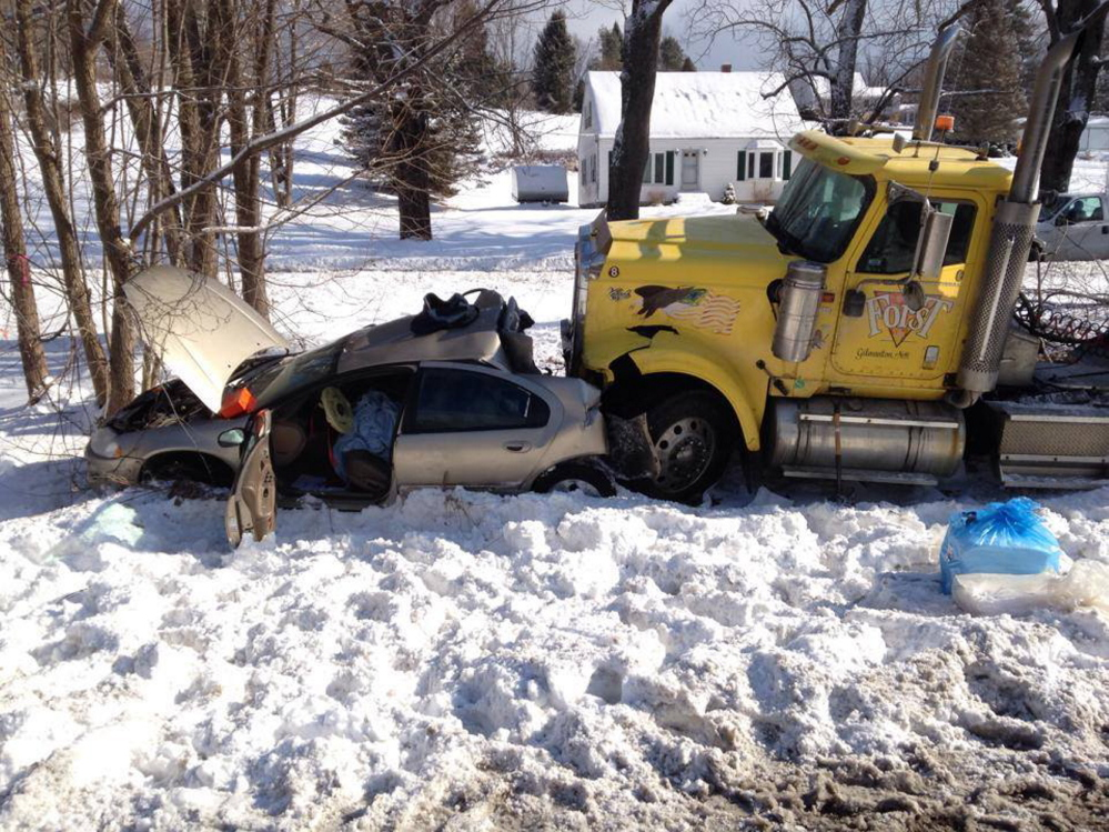 A 2004 Dodge Intrepid and a tractor-trailer became locked together when the truck rear-ended the car in South Berwick on Monday.