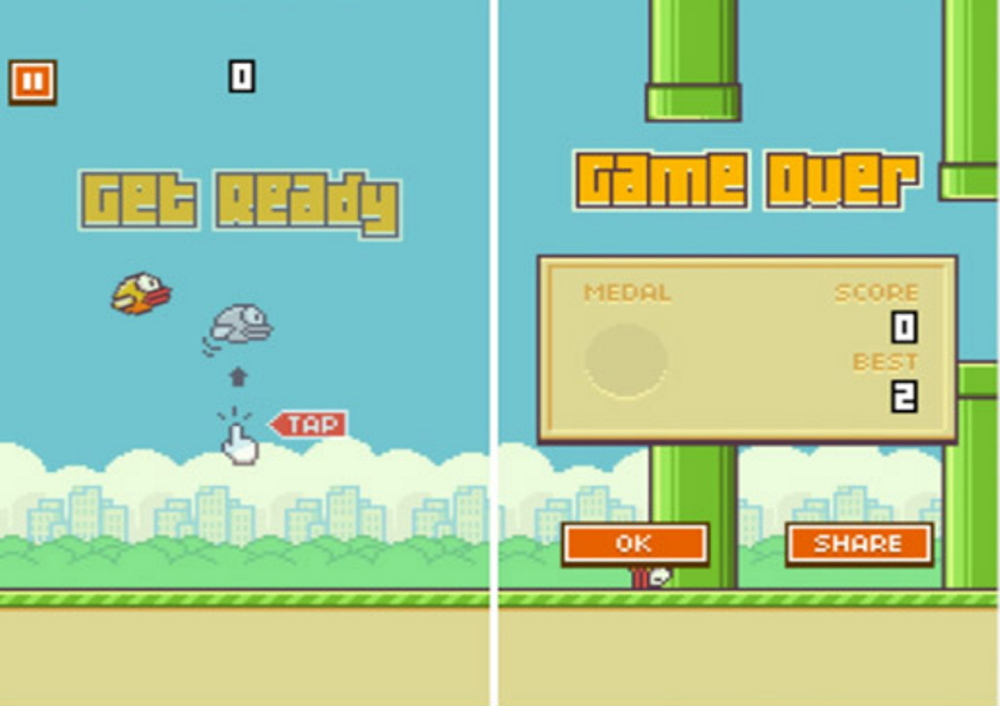 The screen shot shows an image from the mobile game Flappy Bird.
