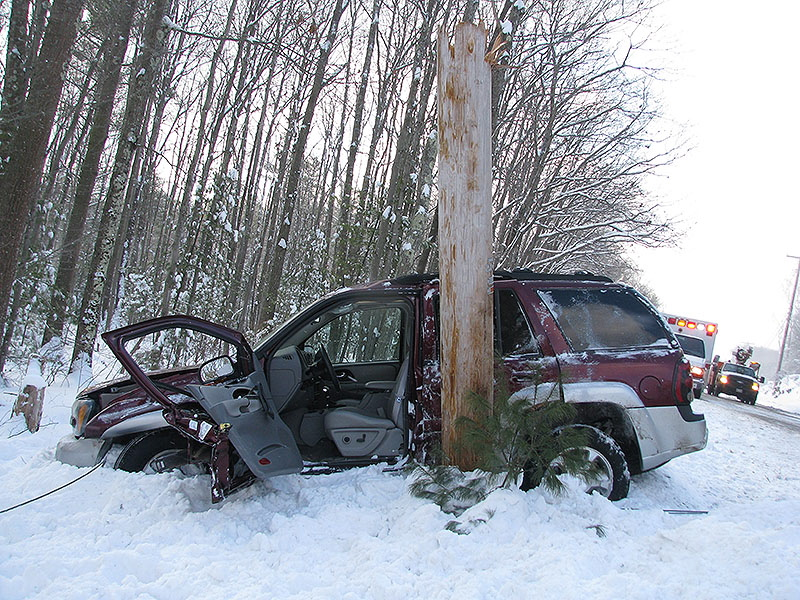 A Chevrolet Trailblazer went off Route 1 in Arundel and snapped a utility pole. The driver sustained a hip injury.