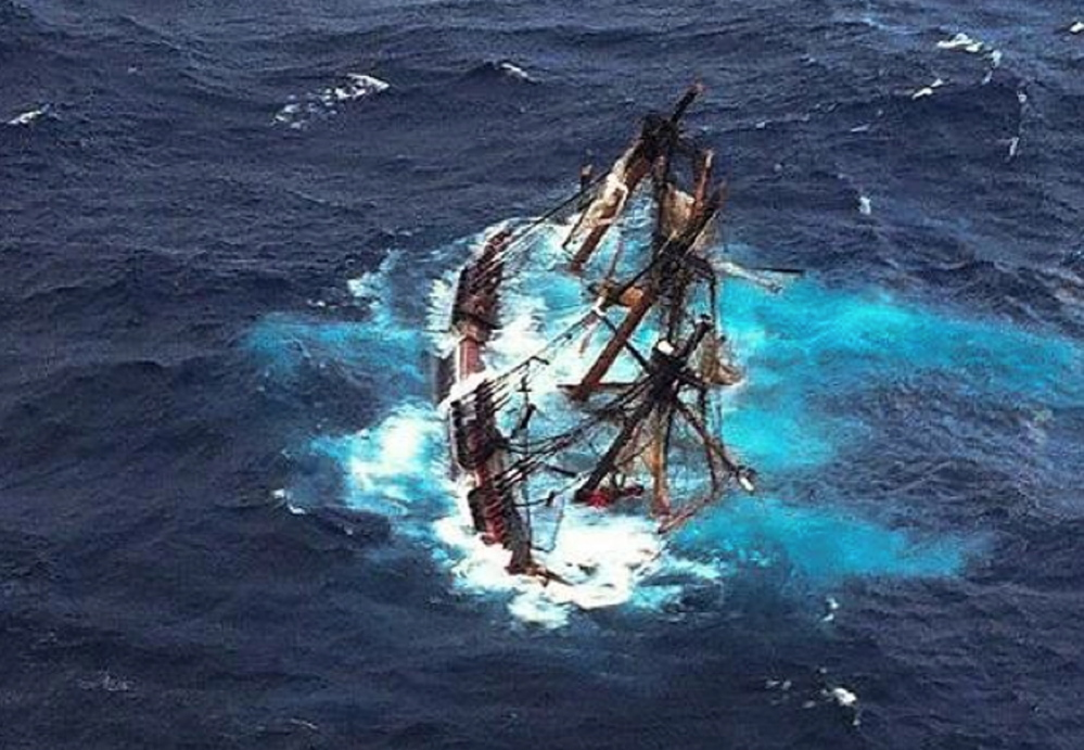 The tall ship Bounty was photographed from a Coast Guard aircraft just before the vessel sank off North Carolina in October 2012, killing the captain and a crew member.