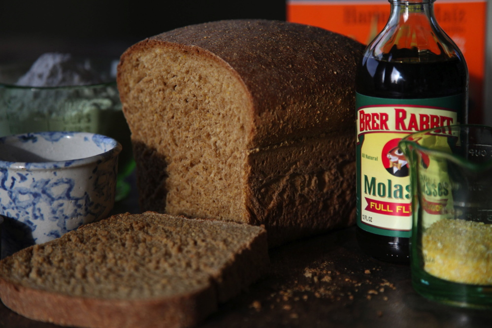 To make a simple loaf of anadama bread you need cornmeal and molasses for flavor and color.