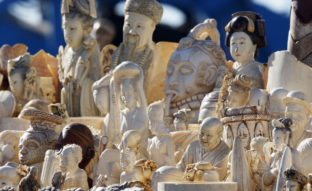 A pile of confiscated decorative ivory awaits destruction during a November 2013 event at the National Wildlife Property Repository at Rocky Mountain Arsenal National Wildlife Refuge in Commerce City, Colo.