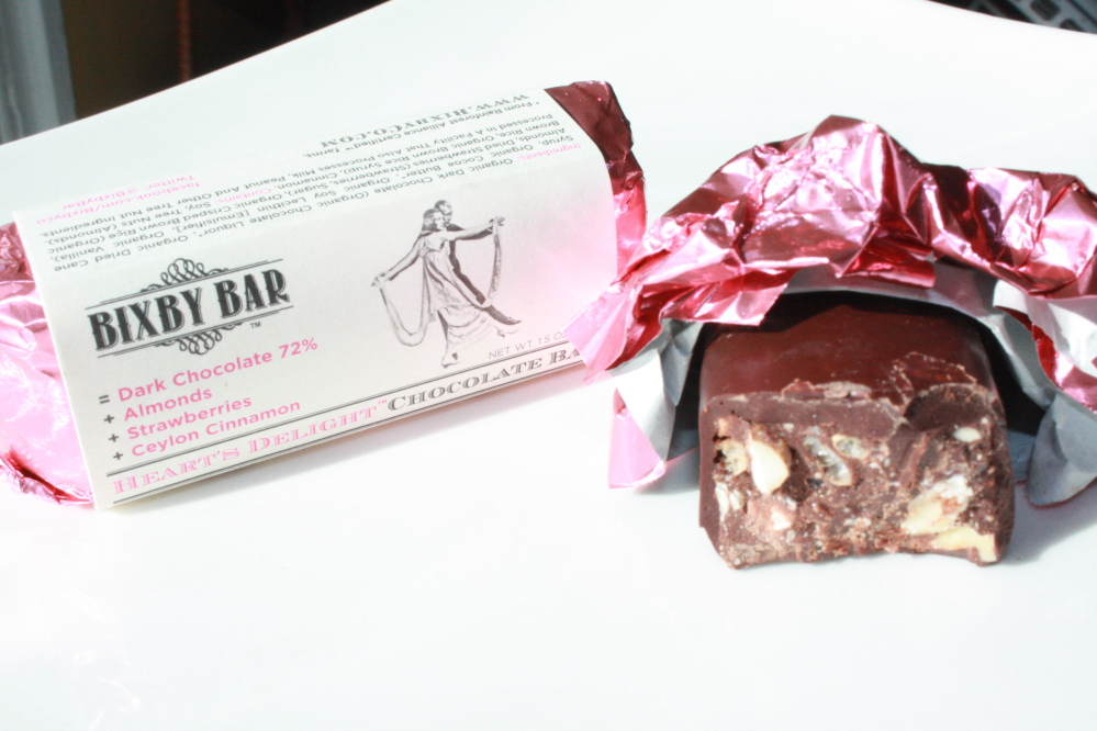 Heart's Delight is one of three vegan bars made with 72 percent dark chocolate by Bixby Bar, a premium organic chocolate company in Belfast.