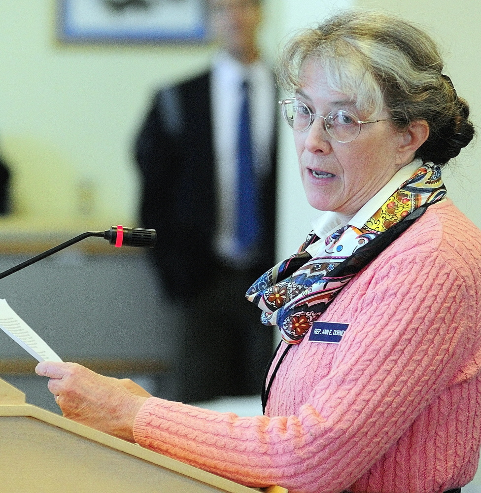 Rep. Ann Dorney, D-Norridgewock, a physician, testifies in favor of the bill, which has overwhelming support from health care organizations, ranging from the Maine Hospital and Maine Medical associations to the national Drug Policy Alliance.