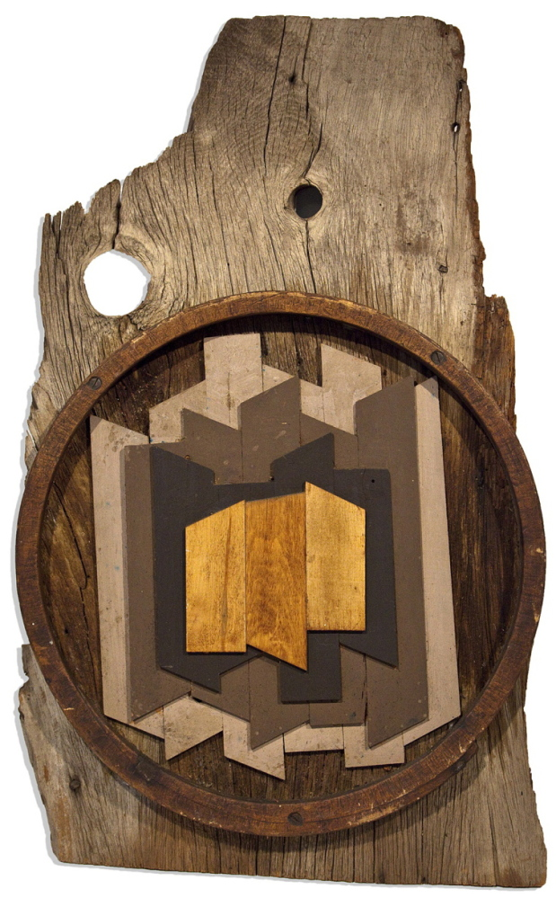 """""""Barn Trophy,"""" c. 1958-62, wood, paint, and metal on wood."""