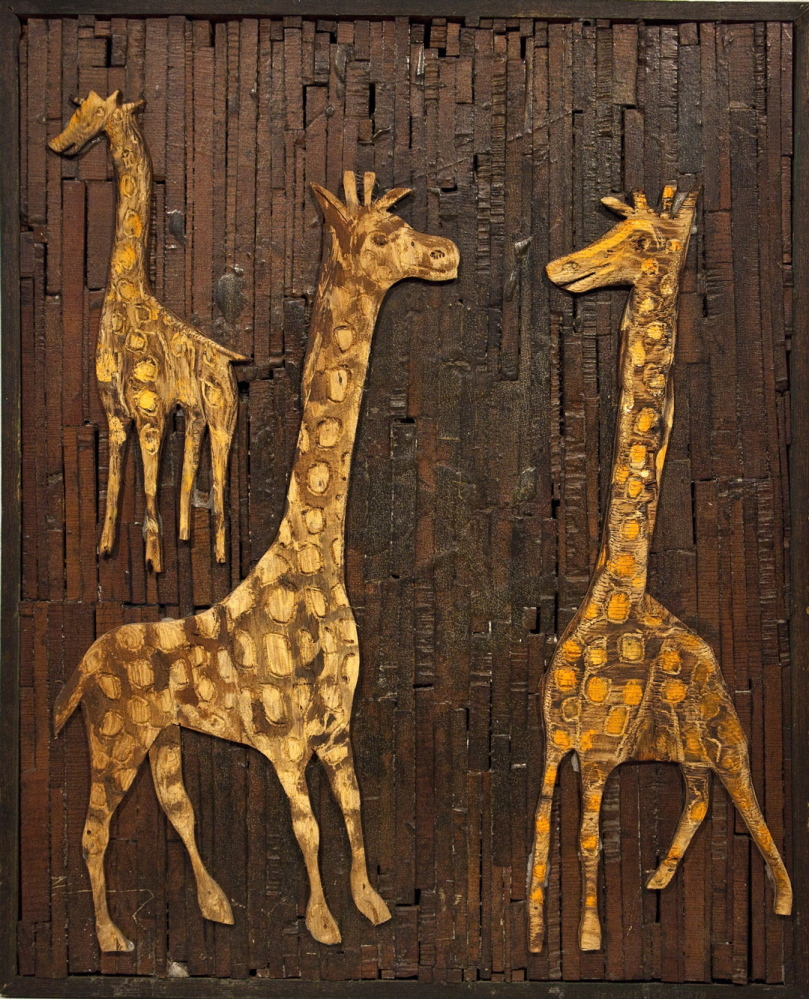 Untitled (Giraffes), c. 1971, wood and paint on wood.
