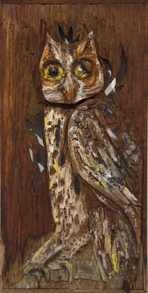Untitled (Owl), 1974, wood and paint on wood.