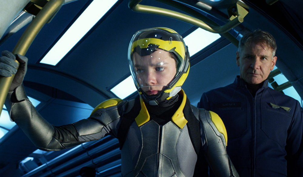 """Asa Butterfield and Harrison Ford in """"Ender's Game."""""""