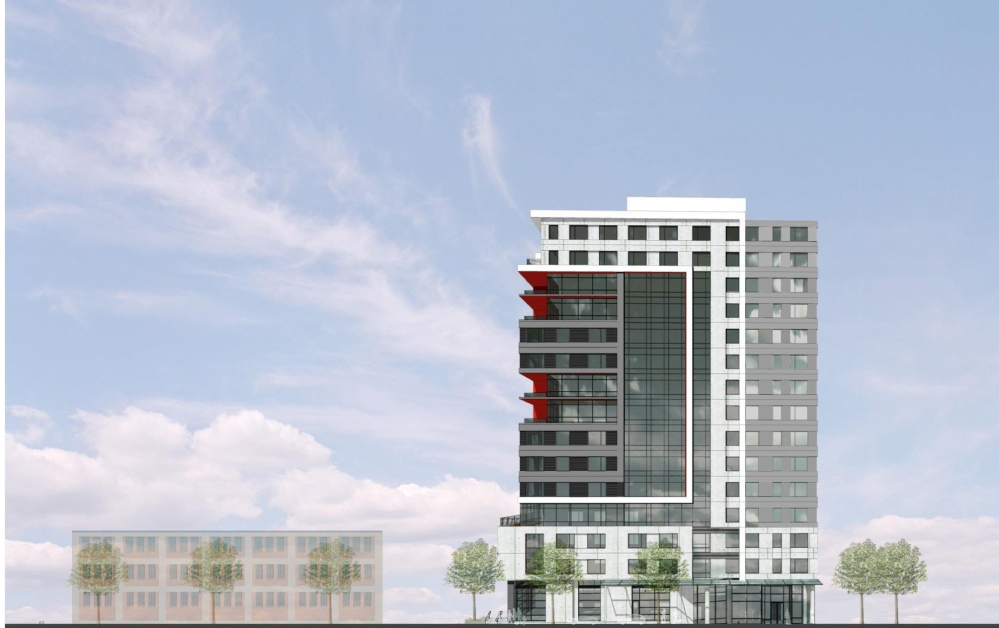 A rendering shows the Pearl Street elevation of the midtown development, which calls for up to four residential and retail towers and two parking garages on Somerset Street in Portland.