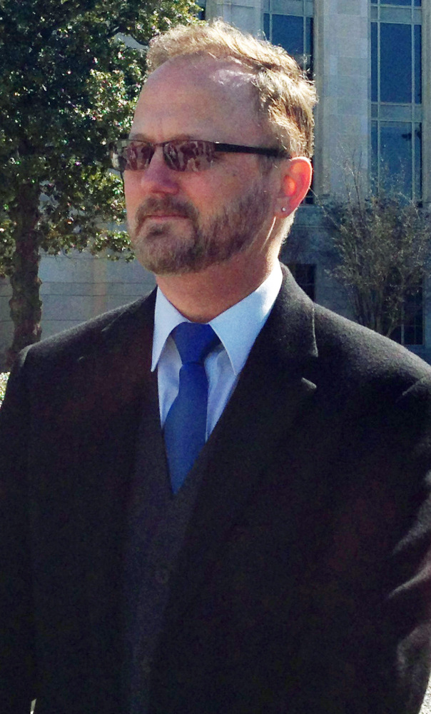 Paul Hard discusses his lawsuit outside the federal courthouse in Montgomery, Ala., on Thursday.