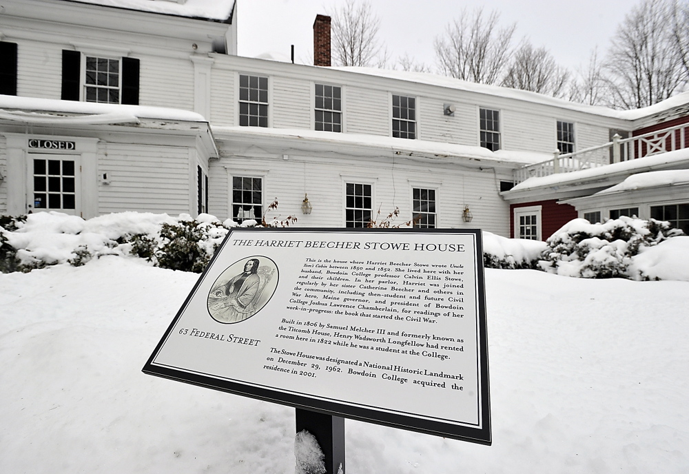 Bowdoin College officials who manage the Harriet Beecher Stowe house in Brunswick claim Stowe actually wrote the book in the house where she lived.