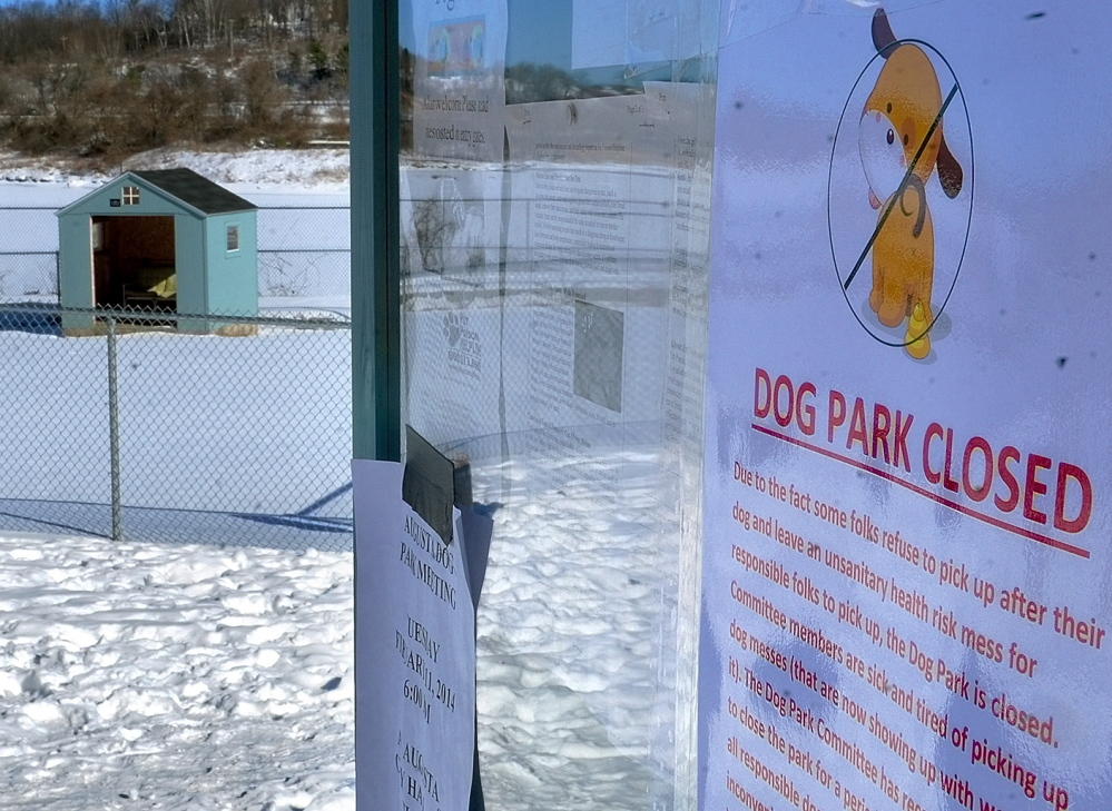 Pet owners hoping to let their dogs play at the Augusta Dog Park are greeted with this sign explaining that the park is closed because people were not picking up after their pets.