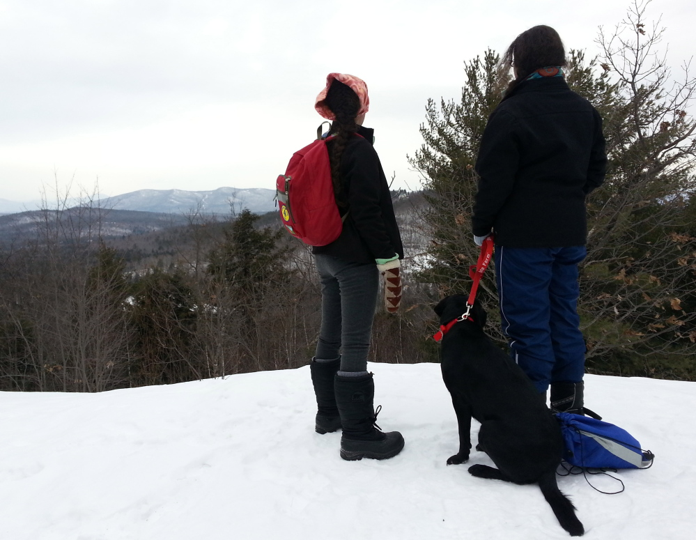 A panoramic view of the White Mountains of Maine and New Hampshire is visible from the summit of Bald Pate Mountain, although hikers might have to look through trees.