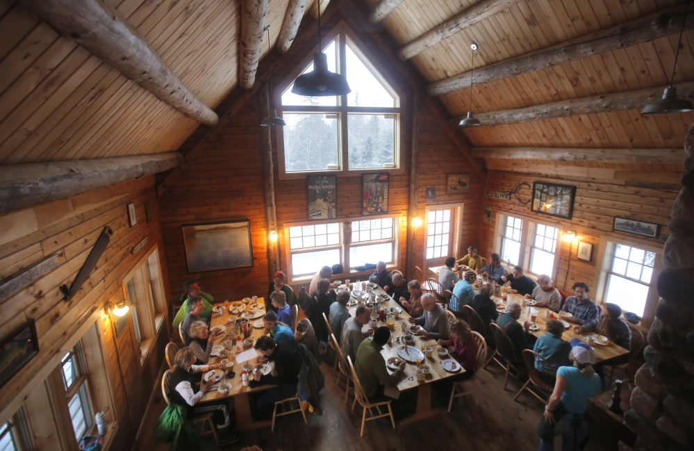 Breakfast is served family-style in the main lodge at Little Lyford Pond Camps. The sporting camp is so popular that a recent waiting list had 100 names on it.