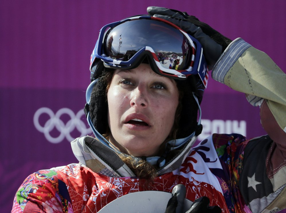 Lindsey Jacobellis of the United States reacts after winning the small final of the women's snowboard cross.