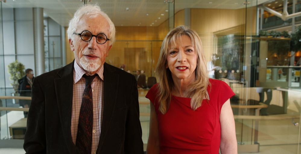 Joe Herbert, left, emeritus professor of neuroscience, and Barbara Sahakian, professor of clinical neuropsychology at the University of Cambridge in England discuss depression.