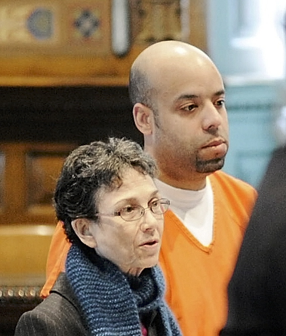 pharmacy robberies: Michael Pierce, 33, of Augusta, left, who was sentenced on two pharmacy robbery charges, stands next to his attorney Sherry Tash on Wednesday at Kennebec County Superior Court in Augusta .