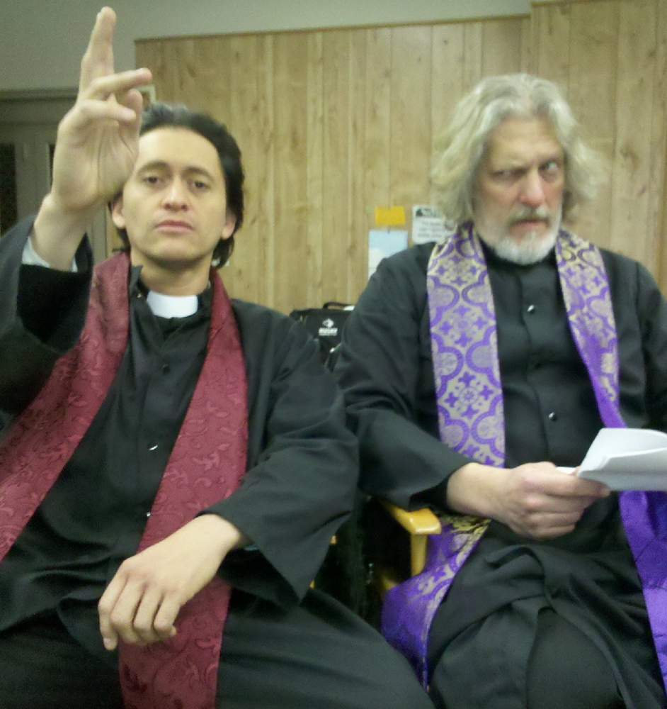 "Clifton Collins Jr., left, and Clancy Brown in ""Hellbenders."""