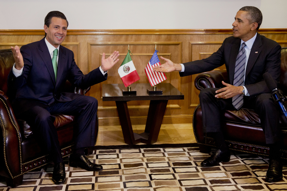 President Barack Obama meets with Mexican President Enrique Pena Nieto at the state government palace in Toluca, Mexico, on Wednesday before the seventh trilateral North American Leaders Summit Meeting.