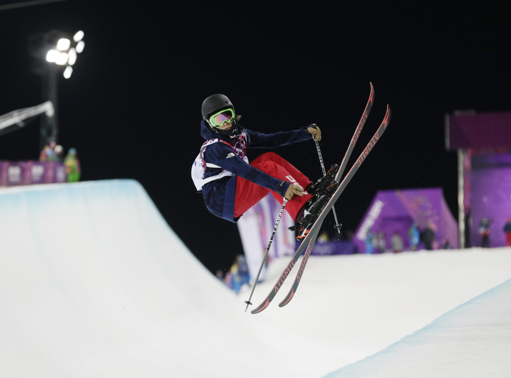 Angeli Vanlaanen of the United States gets air during women's ski halfpipe qualifying at the Rosa Khutor Extreme Park, at the 2014 Winter Olympics.