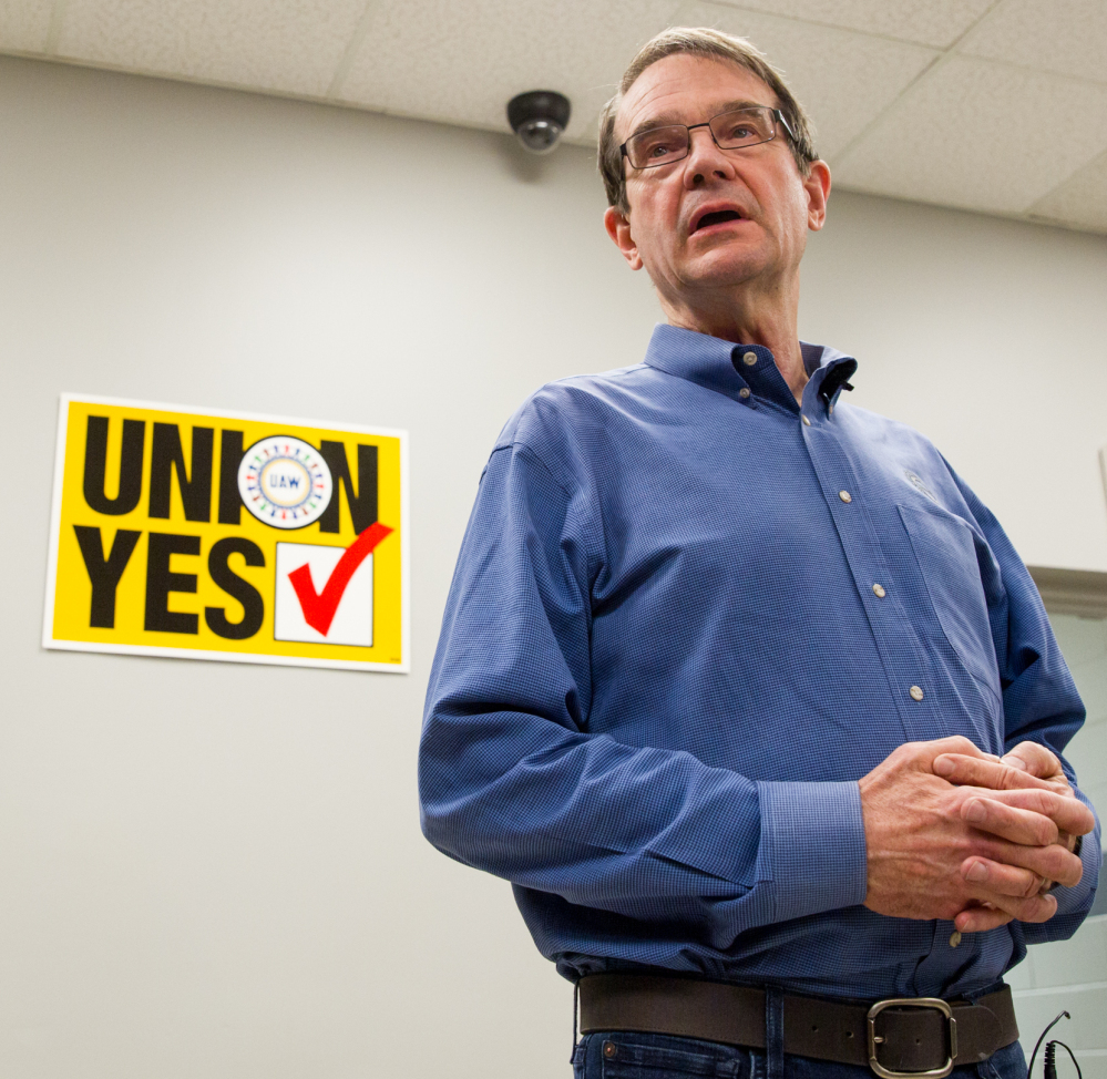 United Auto Workers President Bob King discusses the 712-626 union defeat in an election at the Volkswagen plant in Chattanooga, Tenn.