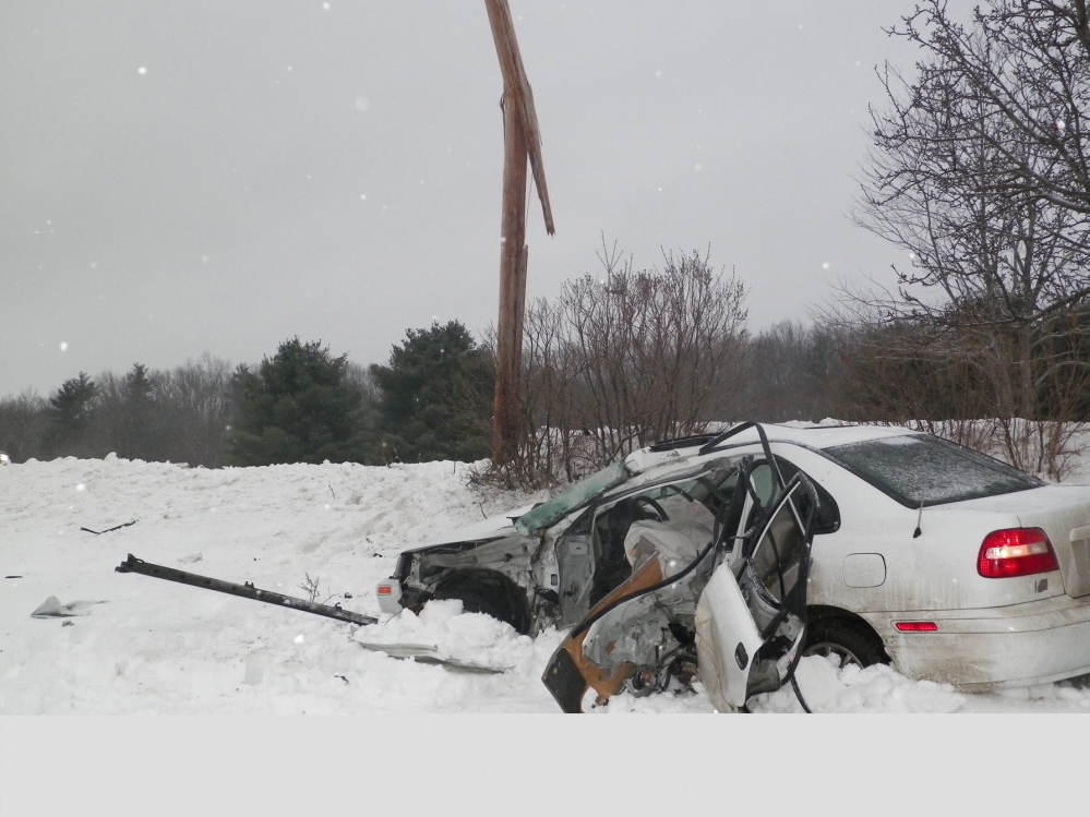 Jordan D. Maroon, 22, died Friday morning when the 2003 Volvo he was driving crashed into a utility pole on Maple Ridge Road in Winslow, police said.