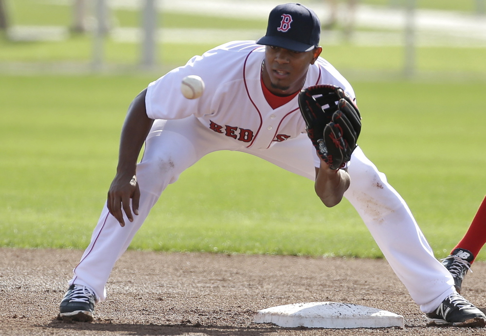Xander Bogaerts says he needs work on all aspects of playing shortstop, especially making outs on routine plays, and he's diligently working on his fielding at Boston's spring training base in Fort Myers, Fla.