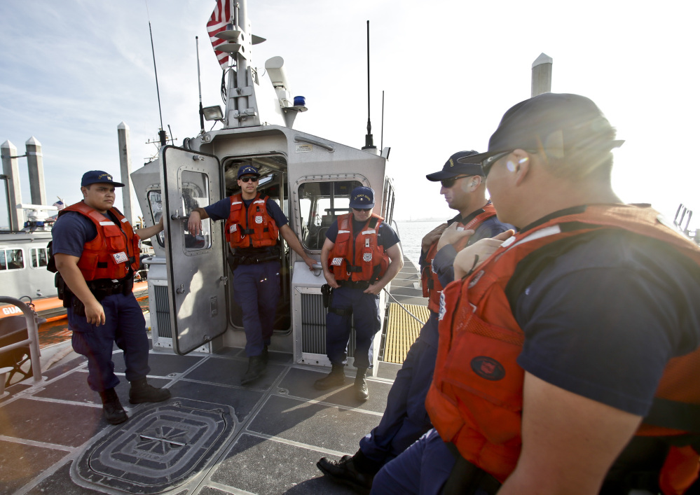 The crew of a 45-foot Coast Guard patrol boat runs through its pre-departure briefing in San Diego recently. With the drug war locking down land routes across Latin America and at the U.S. border, smugglers are increasingly using large vessels to carry tons of cocaine and marijuana to the U.S.