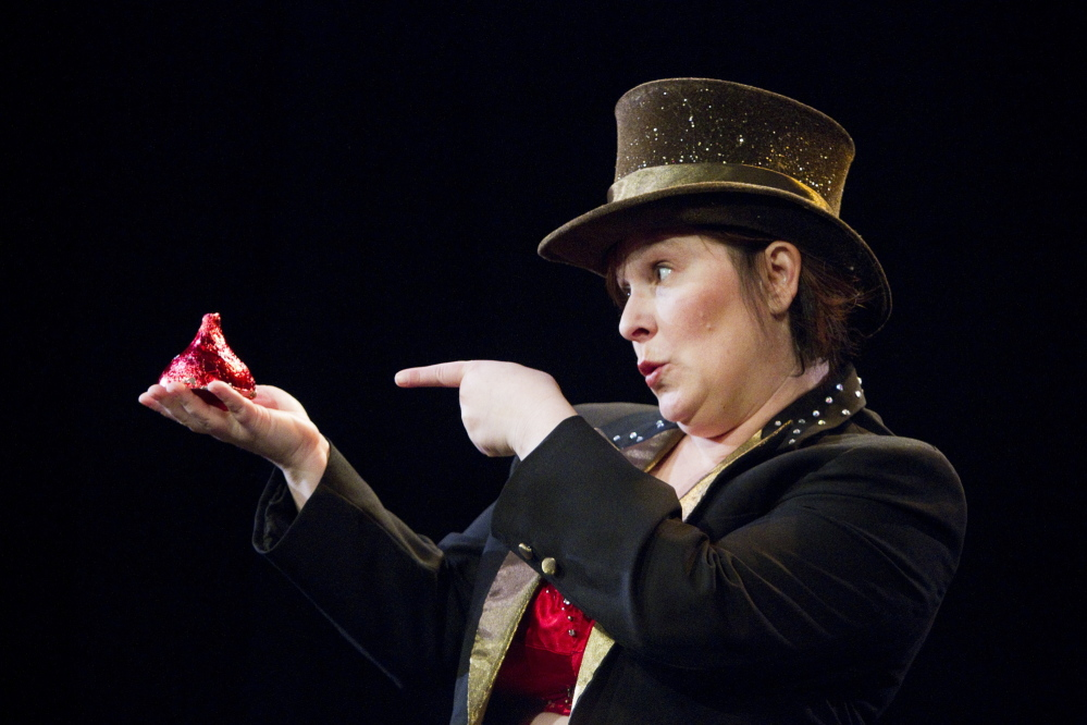 """Not all love and Kisses: Bess Weldon rehearses for """"Big Mouth, Thunder Thighs,"""" her humorous exploration of a serious subject."""