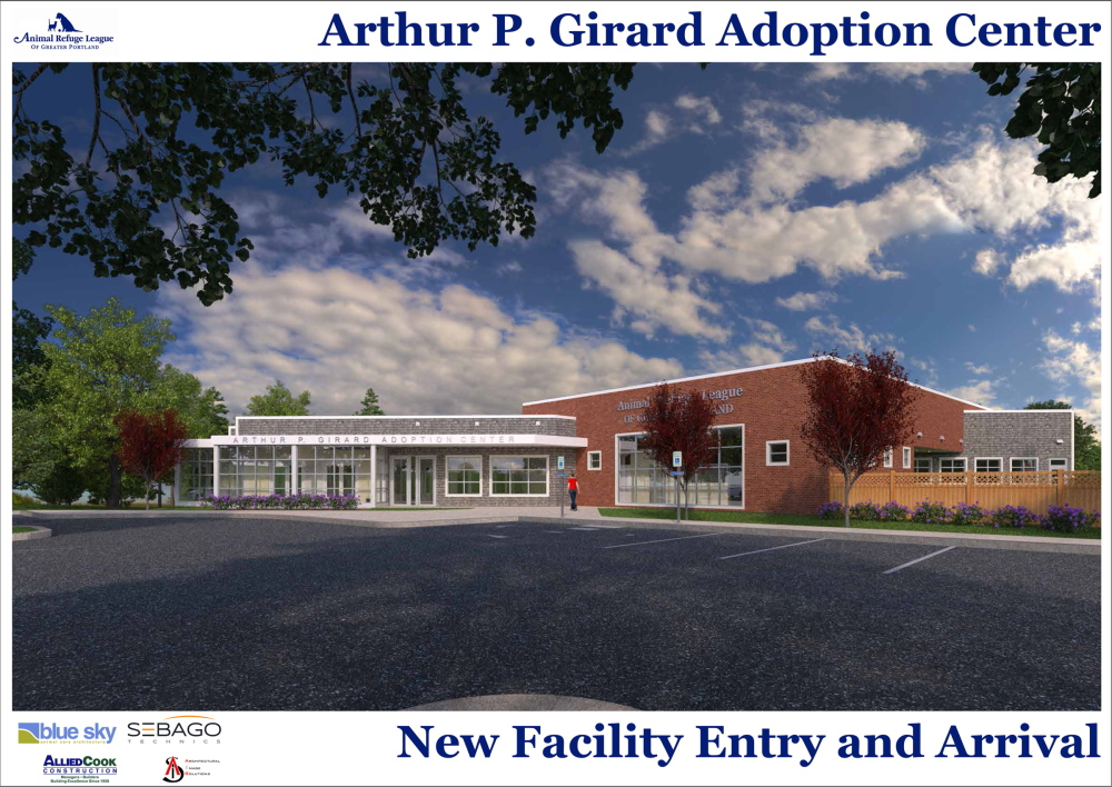 An artist's rendering shows the $6.5 million animal shelter that's scheduled to open by the spring of 2016 on Stroudwater Street in Westbook.