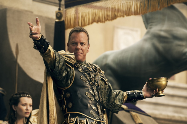 """Corvus (Kiefer Sutherland) declares the Games open in this scene from """"Pompeii."""""""