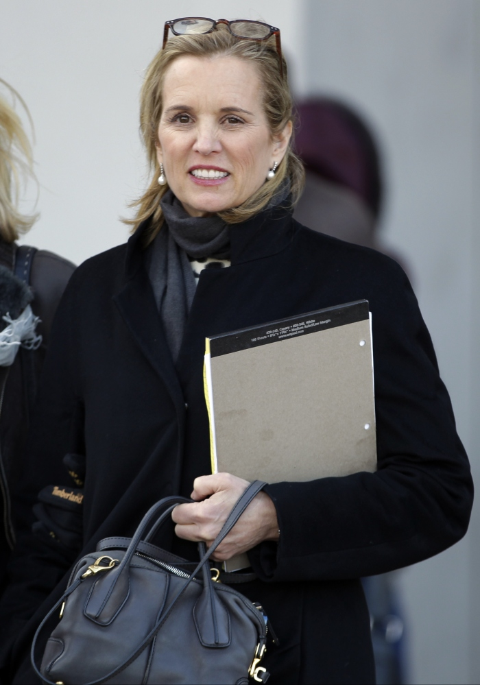 Kerry Kennedy leaves Westchester County courthouse on Wednesday after testifying at her drugged-driving trial that she has no memory of swerving and hitting a tractor-trailer on a suburban New York highway and did not realize she was impaired when she got behind the wheel.