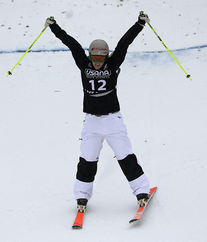 United States' Heidi Kloser celebrates her second-place finish in the women's freestyle World Cup moguls event Wednesday, Jan. 15, 2014, in Wilmington, N.Y.