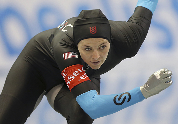 Heather Richardson of the United States skates in the women's 500-meter race of the World Sprint Speed Skating Championships in Nagano, central Japan,Sunday, Jan. 19, 2014.