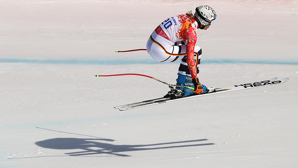 Germany's Maria Hoefl-Riesch jumps during the downhill portion of the women's supercombined at the Sochi 2014 Winter Olympics, Monday, Feb. 10, 2014, in Krasnaya Polyana, Russia. (AP Photo/Alessandro Trovati) 2014 Sochi Olympic Games;Winter Olympic games;Olympic games;Spor