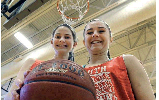Maddie Hasson, left, a sophomore, and Lydia Henderson of South Portland, a freshman, will get a big taste of tournament atmosphere.