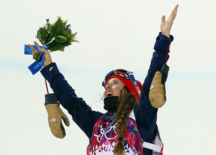Maddie Bowman of the United States celebrates after winning the gold medal in the women's ski halfpipe final at the Rosa Khutor Extreme Park, at the 2014 Winter Olympics, Thursday, Feb. 20, 2014, in Krasnaya Polyana, Russia.(AP Photo/Sergei Grits) 2014 Sochi Olympic Games;Winter Olympic games;Olympic games;Spor
