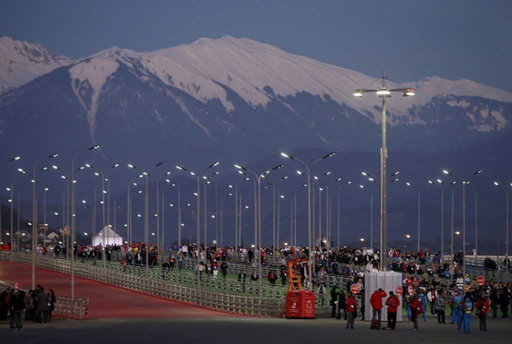 Fans make their way to Fisht Stadium for the opening ceremony of the 2014 Winter Olympics in Sochi, Russia, Friday, Feb. 7, 2014. (AP Photo/Darron Cummings) 2014 Sochi Olympic Games;Winter Olympic games;Olympic games;Spor