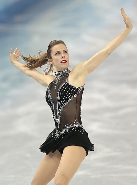 Ashley Wagner of the United States competes in the women's team short program figure skating competition at the Iceberg Skating Palace during the 2014 Winter Olympics, Saturday, Feb. 8, 2014, in Sochi, Russia. (The Associated Press)
