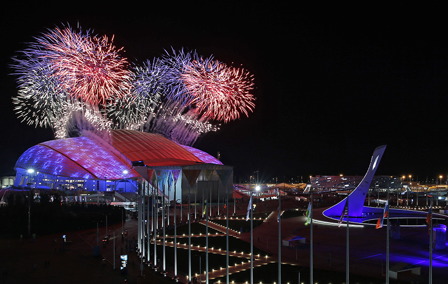 Fireworks are seen over Olympic Park during the opening ceremony of the 2014 Winter Olympics in Sochi, Russia, on Friday.