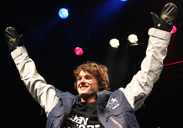 Nick Goepper celebrates after being announced to the U.S. Olympic freeskiing team following the U.S. Grand Prix Saturday, Jan. 18, 2014, in Park City, Utah.