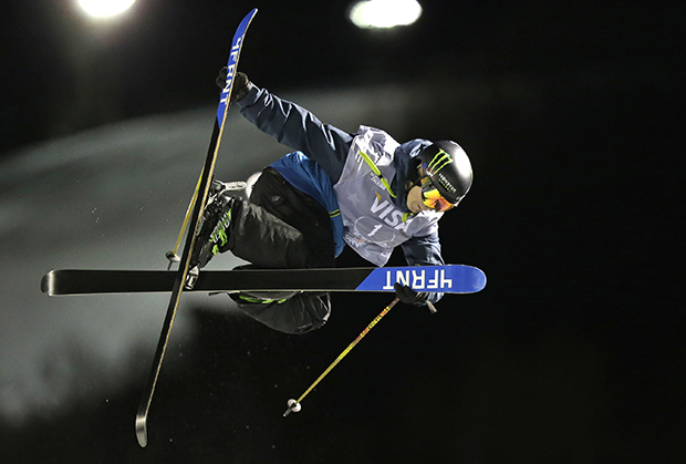 David Wise, of the United States, competes during the men's U.S. Grand Prix freestyle halfpipe skiing event Friday, Jan. 17, 2014, in Park City, Utah.