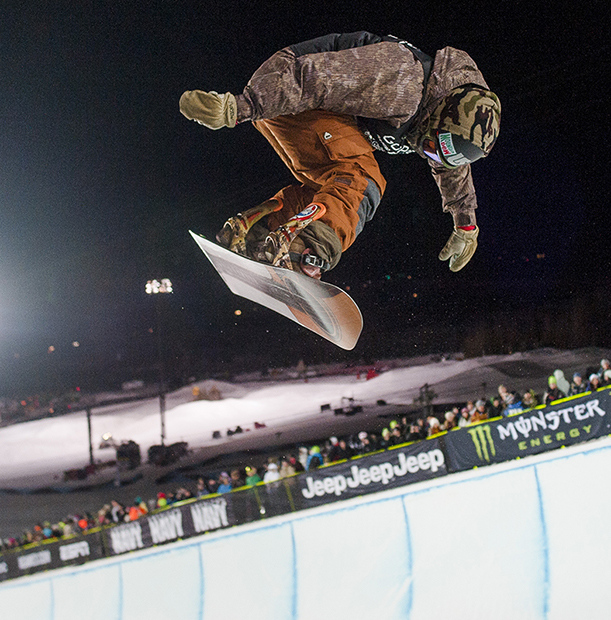 Danny Davis makes a 37.66 run before dominating the competition and winning gold with a 95.00 his second run during the Men's Snowboard SuperPipe finals at the 18th edition of the Winter X Games in Aspen, Colo. Sunday, Jan. 26, 2014.
