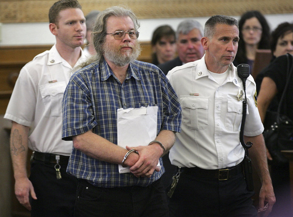 Convicted serial rapist Gary Irving, shown in a Massachusetts courtroom, pleaded guilty to being a fugitive in possession of firearms and aggravated identity theft in Maine on Thursday.