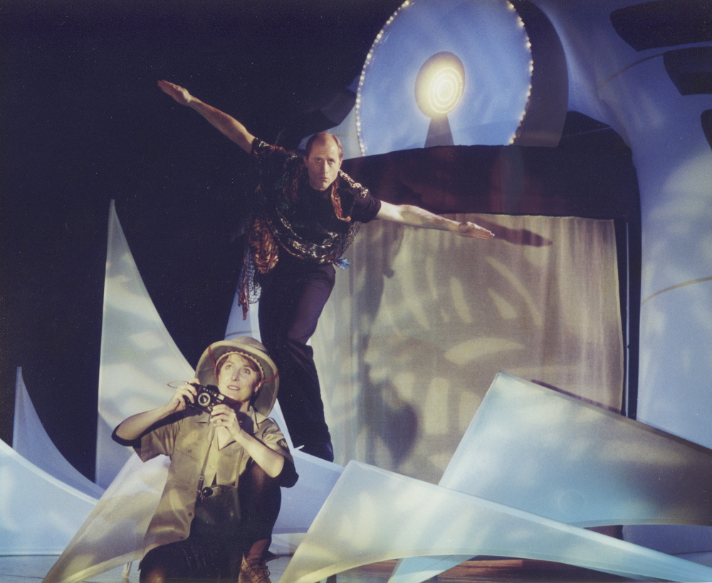 "Karmo and Jerry Sanders perform in the musical ""Radical Radio,"" which they created with Steve Underwood, in New York City in 1995. The show toured for four years."