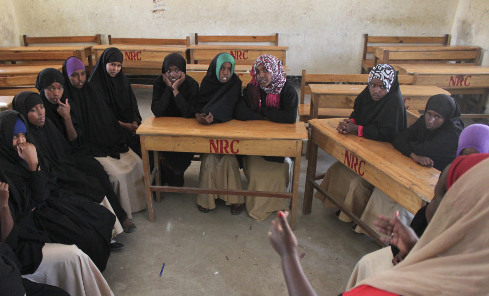 Teenage girls attend an after-school club that UNICEF helps fund at the Sheik Nuur Primary School in Hargeisa, Somaliland, a breakaway region of Somalia.